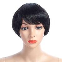 Nayoo прямой короткий Искусственные парики для Для женщин 8 дюймов 8 цветов индийский Реми короткий Боб 100% Человеческие волосы не Кружево пари...