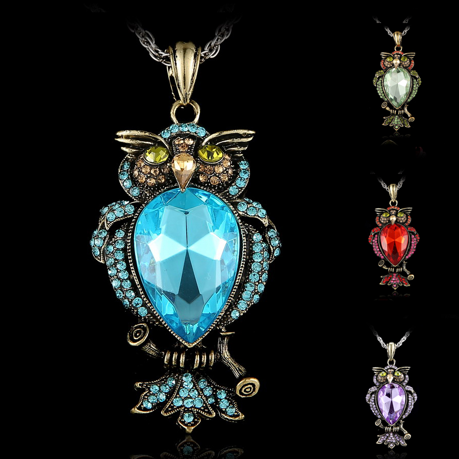 Vintage Crystal Owl necklace for Women Jewelry Gothic Antique Animal Necklace Pendant Long Necklace epacket drop