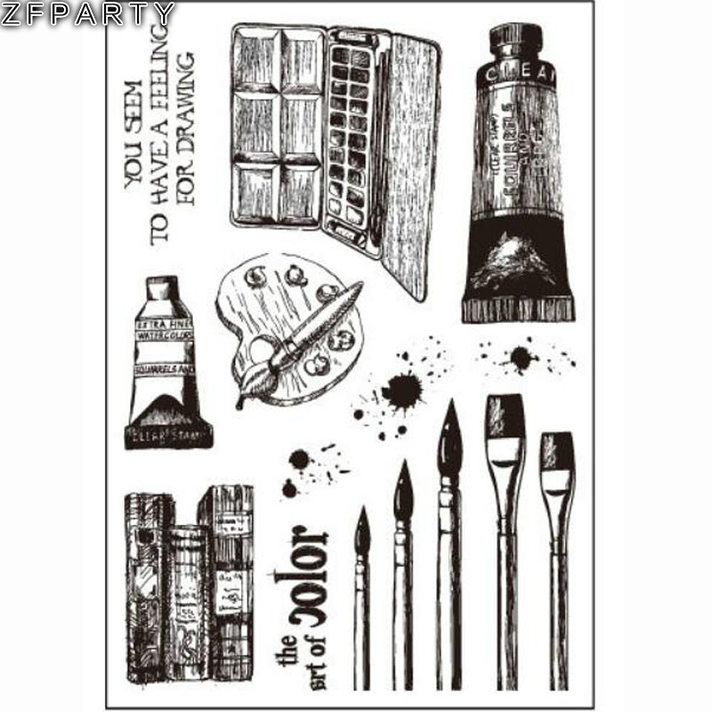 ZFPARTY Paintbrush Transparent Clear Silicone Stamp/Seal