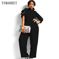 2015 New Fashion Plus Size Jumpsuits And Rompers For Women XXL XXXL XXXXL Chiffon Loose Long