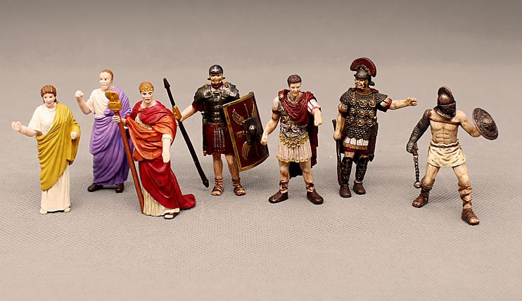 pvc figure Mini miniature ancient European puppet Roman Emperor Gladiator Lady Caesar the Great model ornaments 7pcs/set image