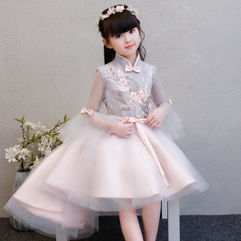 2018 New Spring Children Girls Luxury Elegant Flowers Princess Lace Ball Gown Mesh Tail Dress Kids Baby Birthday Holiday Dress 2018 spring new children girls elegant
