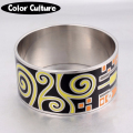 32mm Width Big Vintage Bracelet Elegant Classic Stainless Steel Metal Enamel Bangles for Women Enamel Jewelry  PCSZ3201