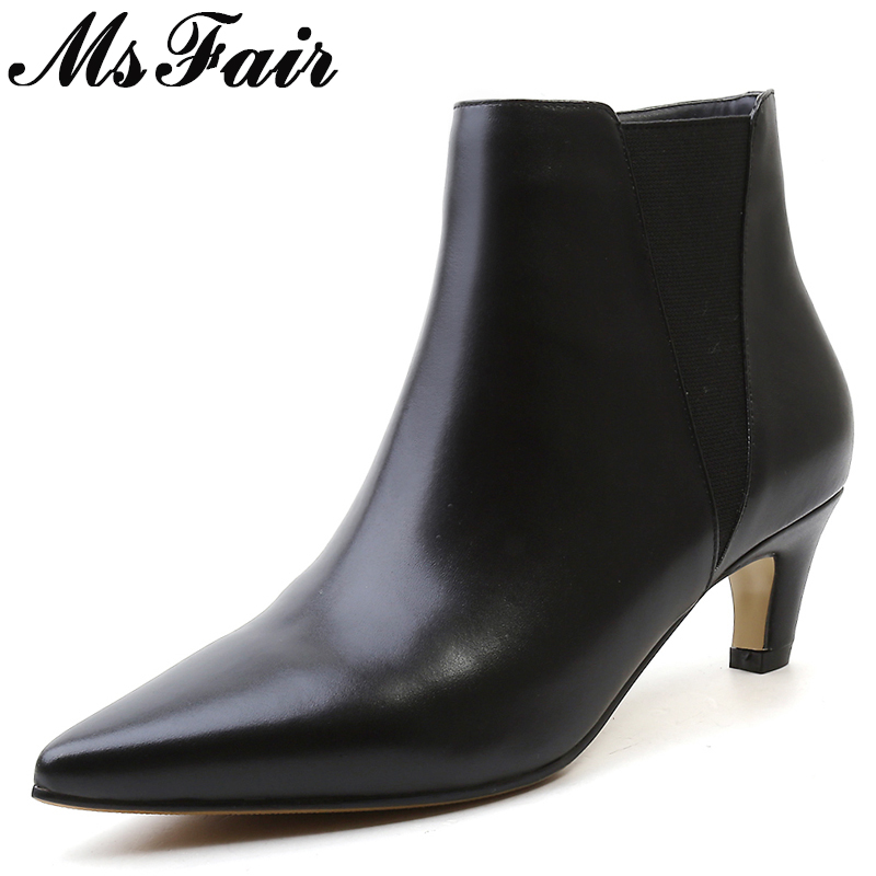 все цены на MsFair Pointed Toe Med Heel Women Boots Genuine Leather Zipper Ankle Boots Women Shoes Winter Elegant Ankle Boots Shoes Woman онлайн