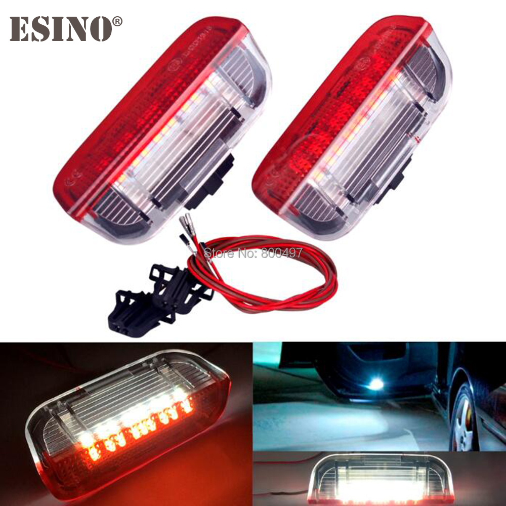 2 x LED Car Door Lights Lamps CANBUS OBC Error Free For Volkswagen VW Golf Jetta Passat Sharan Touareq Scirocco Superb Cayenne 2pcs brand new high quality superb error free 5050 smd 360 degrees led backup reverse light bulbs t15 for jeep grand cherokee