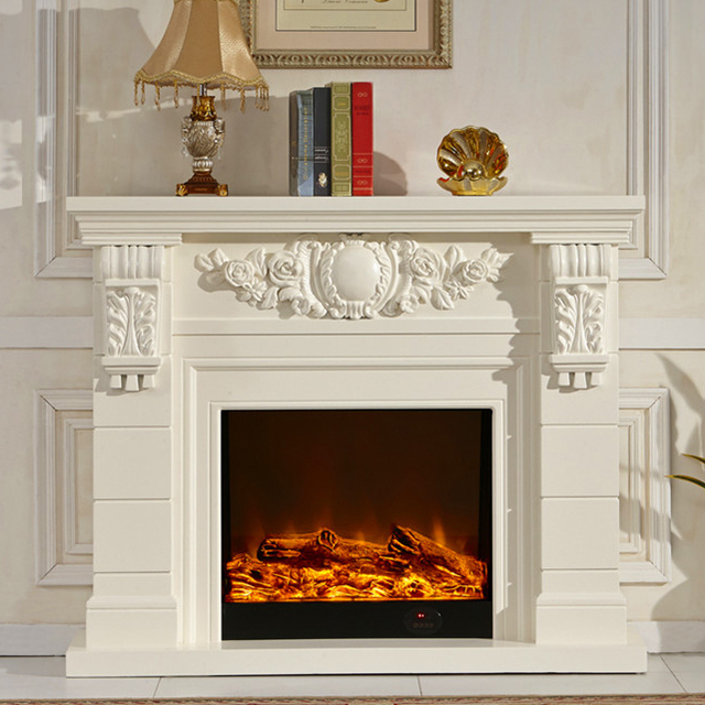 wooden fireplace mantel W140cm with electric fireplace insert ...