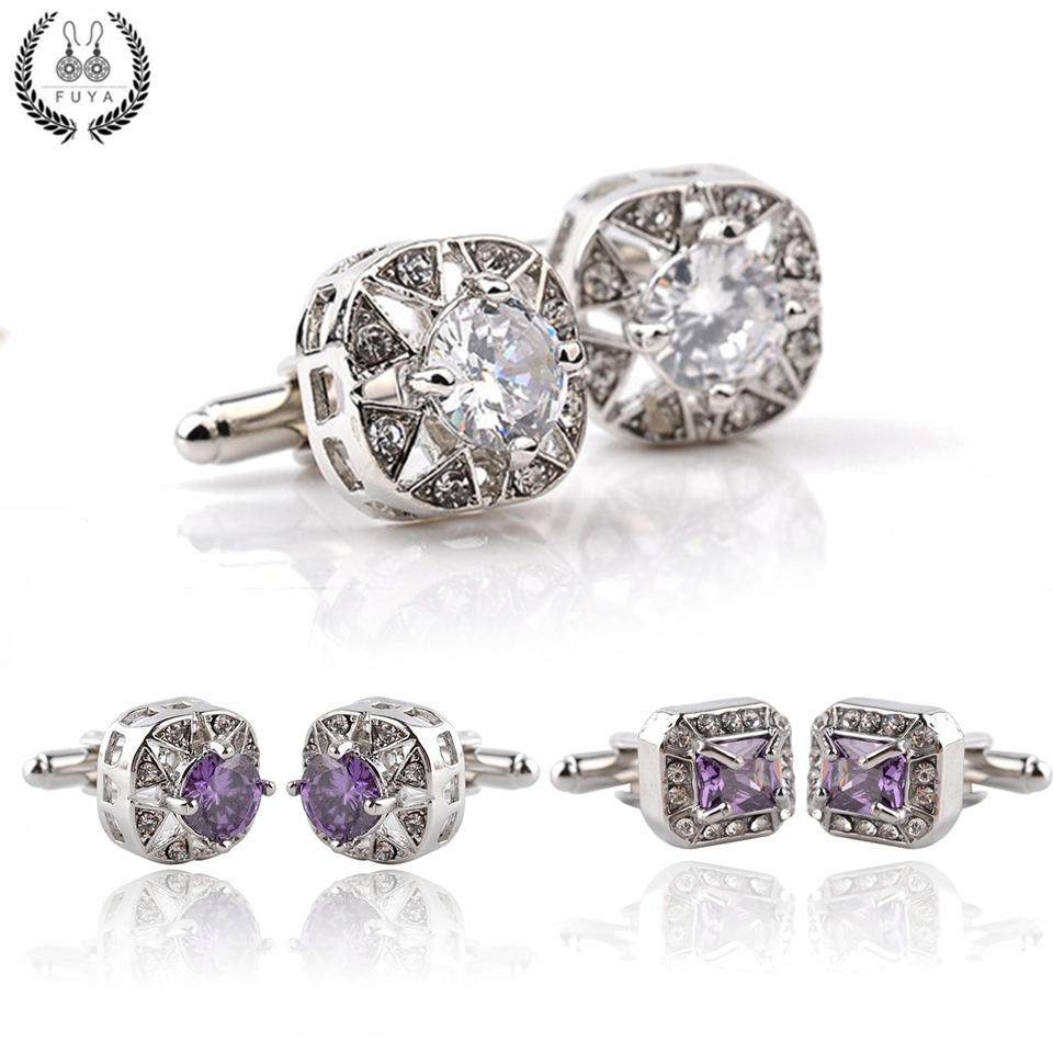 Elegant silver purple rhinestone crystal cufflinks buttons gifts Trendy round square geometric cufflinks for mens shirt jewelry