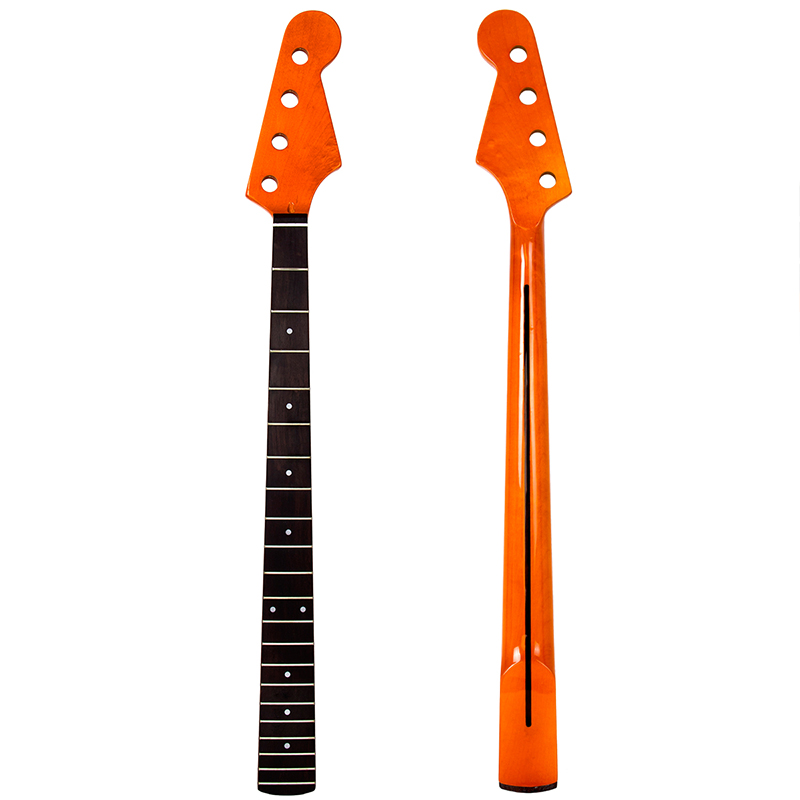 Bass Neck Guitar 4 String 22 Fret For Maple Bass Guitar Neck Rosewood Fingerboard Replacement Parts White Dot Inlay Yellow Satin купить в Москве 2019