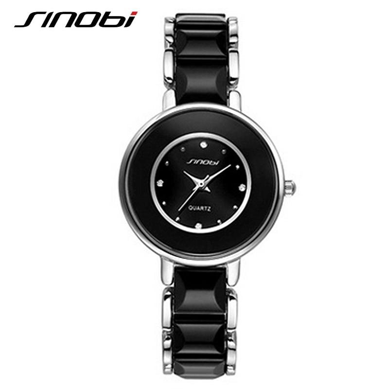SINOBI Brand Women Watches 2017 Imitated Ceramic Ladies Luxury Black Bracelet Watches Fine Steel Vogue Female