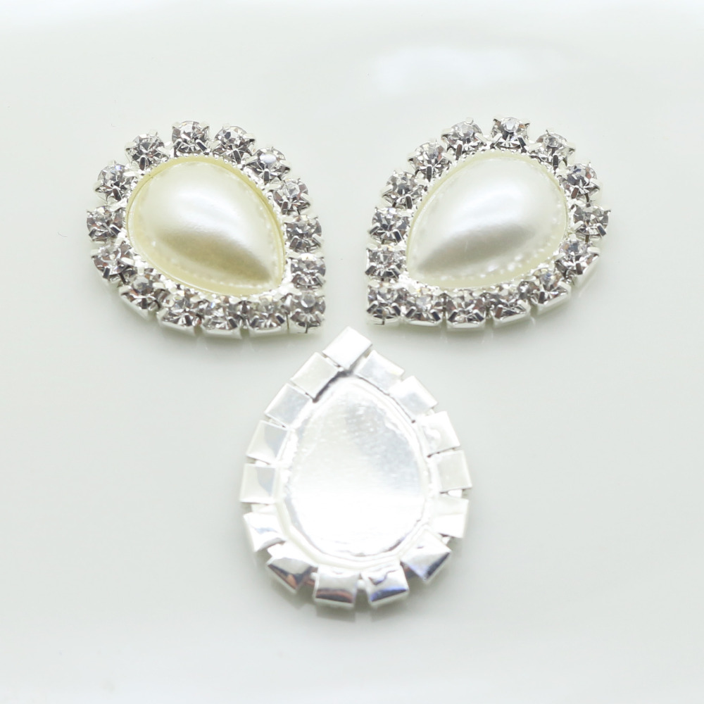 New 10Pc 17 22MM Water Drop Pearl rhinestone Buttons tray cap setting   hair  scrapbookiong wedding celebration party decoration-in Buttons from Home ... 948b4ba1130a