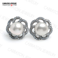 8mm Freshwater Pearl Genuine 925 Sterling Silver Jewellery CZ Diamond Classic Flower Stud Earrings