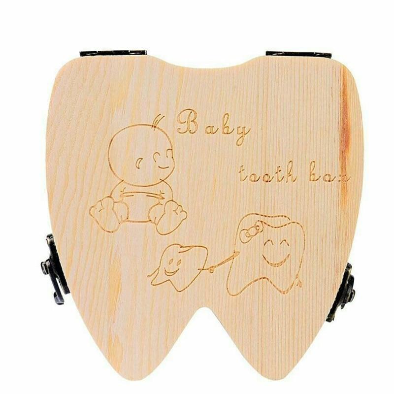 English Language Child Wood Teeth Storage Box Save Milk Teeth Collecting Teeth Umbilical Cord Lanugo Organizer Wood Box