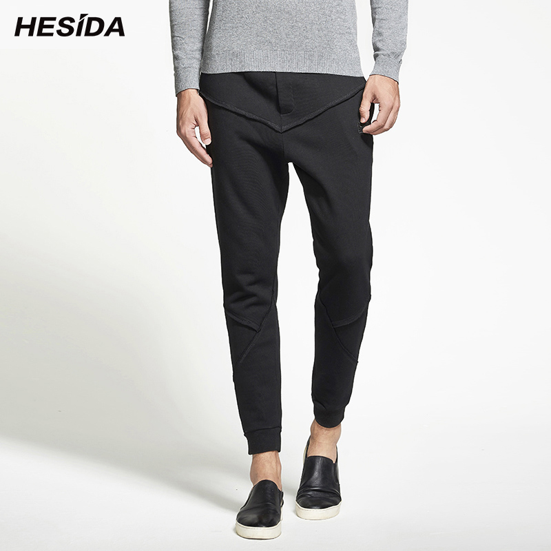Men Joggers Pants Patchwork Splicing Pure Cotton Sweatpants Male Trousers Harem Sweat Track Pants Casual Men Tracksuit Bottoms