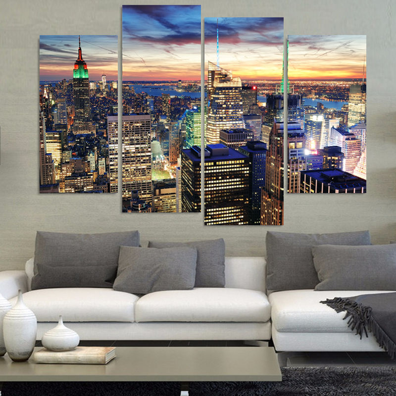 ≧4 unidades moderna pintura de pared Nueva York Empire State ...