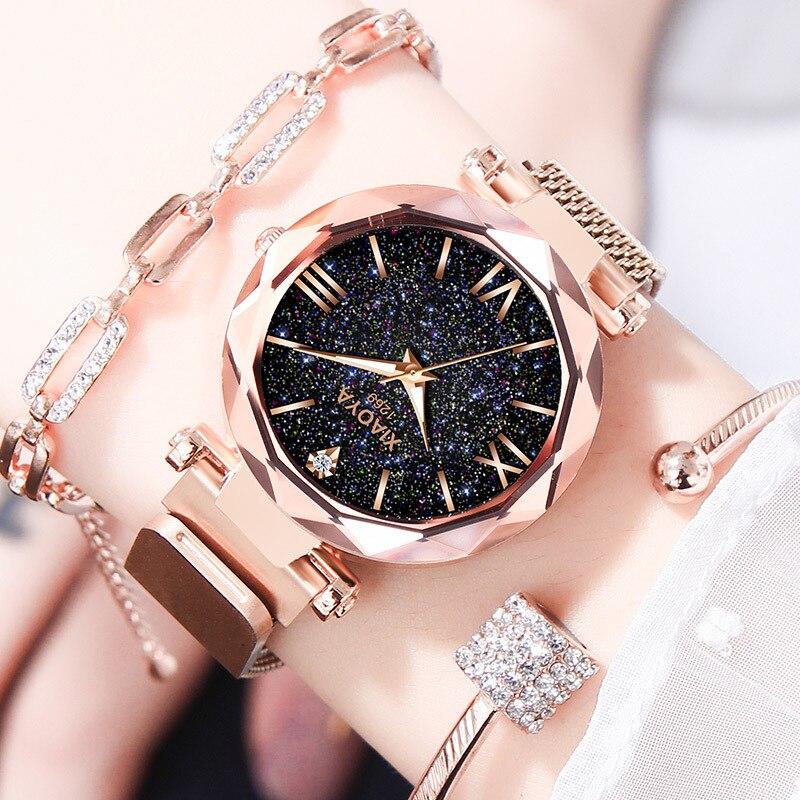 Relogio feminino reloj mujer De Luxe Or Rose Montre Femmes Dames Poignet Montres Starry Sky Strass Étanche Horloge Femelle Nouveau