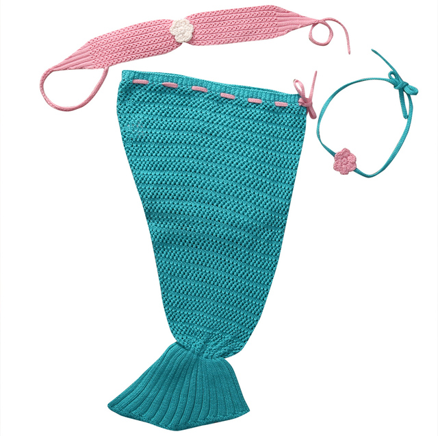 Mermaid Costume Baby Girl Crochet Tail Sets Clothes Photo Prop