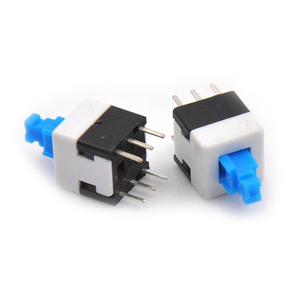 10PCS NEW 8 * 8 Latching Switch Double Row Self-locking 6 Pin Button Switch
