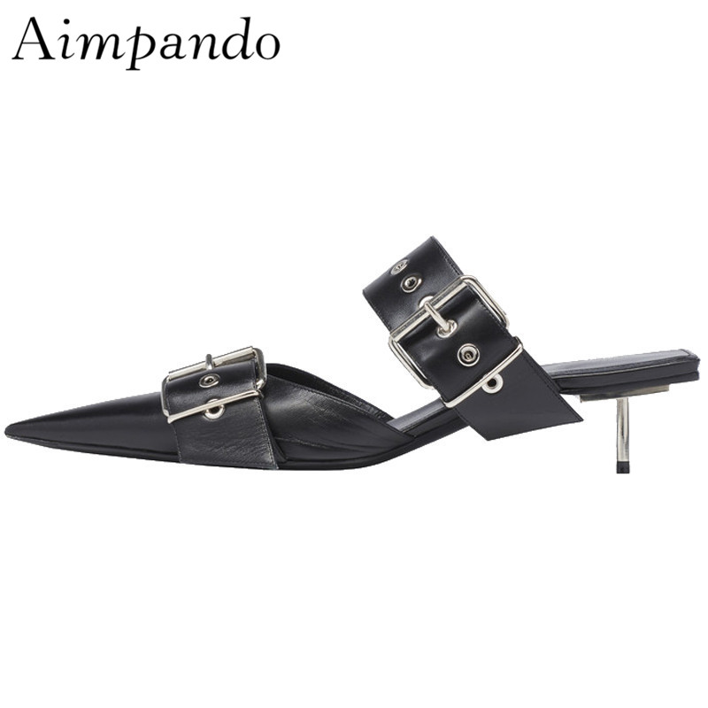 Spring 2019 Black Genuine Leather Slippers Women Metal Thin Heel Pointed Toes Studded Buckle Slingback Slim