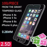 100 шт. 9 H 0,26 мм взрывозащищенное Закаленное стекло для IPhone X 8/8 Plus 7 6 6 S плюс 5 5S 4 4S защитная пленка
