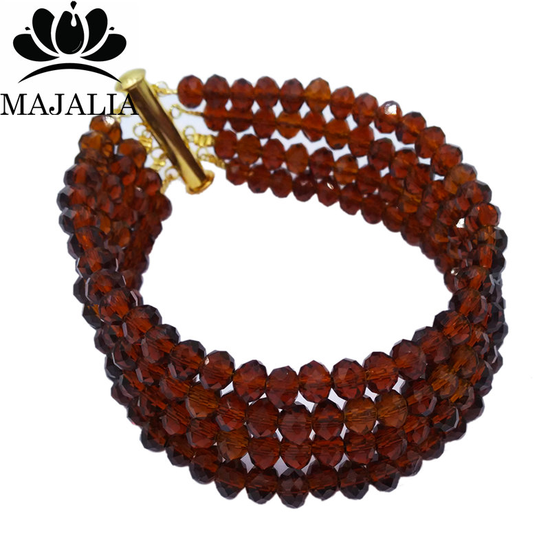 Majalia Classic Nigerian Wedding African Jewelery Set Brown Crystal Necklace Bride Jewelry Set Free Shipping 6CL005