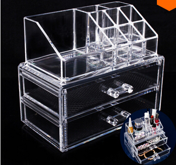 Layer 2 drawer jewelry box Acrylic Cosmetic Organizer Drawer Makeup Case Storage Insert Holder Box Free shipping Mail