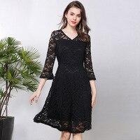 Women's Knee Length Lace Double Layer Dress A Line Lolita Princess High Waist Classic Dress Plus Size