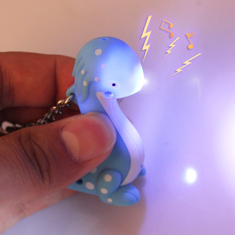 cute cartoon fisher dragon LED sound light key chain flashlight accessories creative gift factory direct selling wholesale