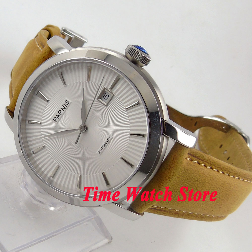 Parnis 41mm white dial silver marks luminous sapphire glass 5ATM 21 jewels MIYOTA Automatic mens watch 616 relogio masculinoParnis 41mm white dial silver marks luminous sapphire glass 5ATM 21 jewels MIYOTA Automatic mens watch 616 relogio masculino