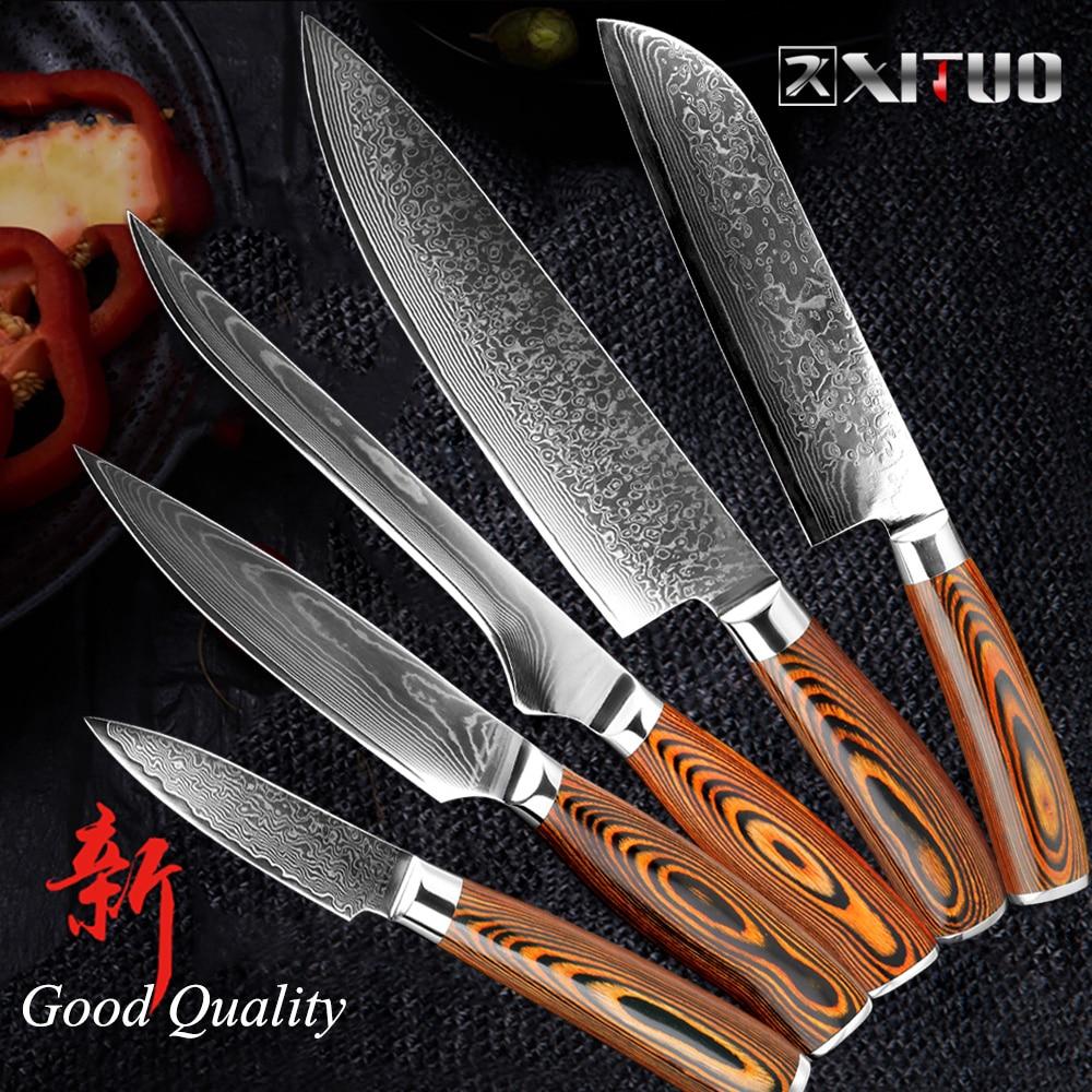 XITUO meilleur 3 pcs cuisine couteaux ensembles Japonais Damas acier Motif chef