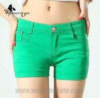 WomensDate 2017 Summer Green Denim Shorts Women Cotton Short Jeans Pants Girls Sexy Slim Hip Short