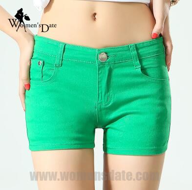 womensdate verde del verano pantalones cortos de mezclilla de algodn de las mujeres short jeans