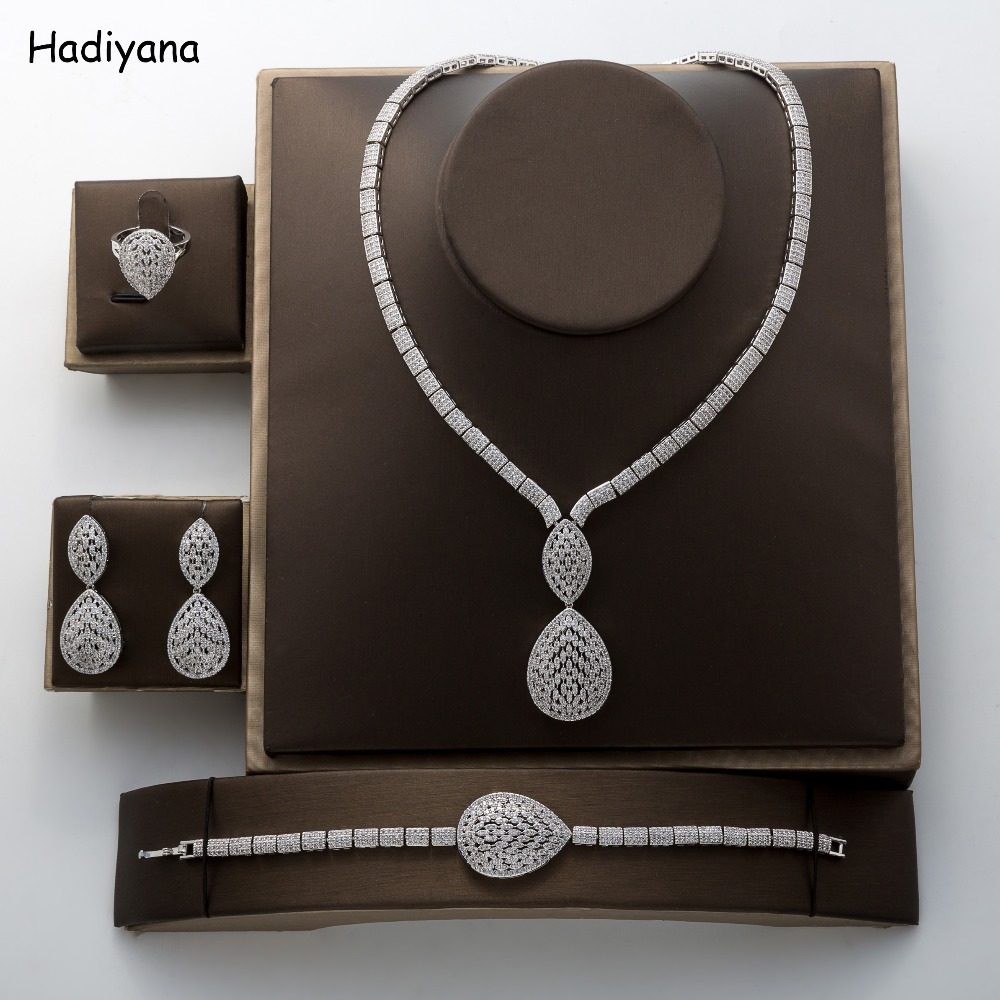 Jewelry Sets HADIYANA Classic Zirconia Crystal Luxury Wedding 4 pcs Vintage Geometric New Ladies Party Set