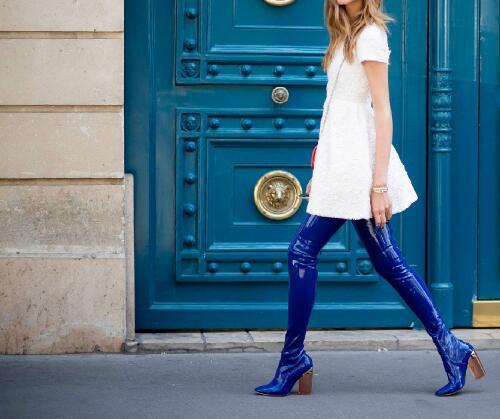 Abesire 2019 el nuevo diseño mujer moda cuadrado transparente tacones altos sobre la rodilla botas mujer punta redonda zapatos con cremallera - 5