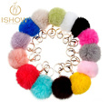 New 8CM many colors rabbit fur ball keychain jewelry cubre llaves Genuine keychains porta chiavi fur key chain keys for lovers