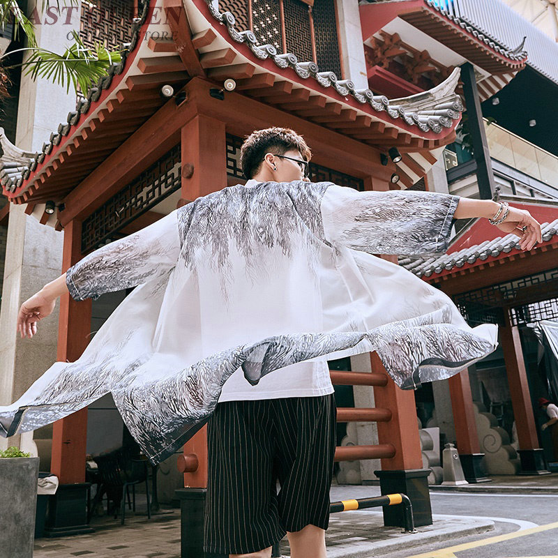 Japanese Kimono Cardigan Men 2019 Streetwear Long Shirt Male Boho Asian Clothes Beach Tops Summer Kimonos Yukata Haori FF2171