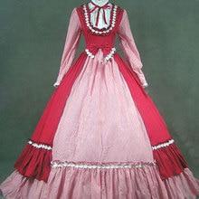 Классический красный и розовый готический, викторианской эпохи платья для женщин Ретро Стенд воротник лук Ренессанс Маскарад период вечерние бальные