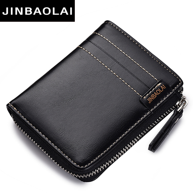 New L-Zip Short Wallets PU Leather Men Wallets Solid Sample Style Zipper Purse Card Horder Famous Brand High Quality Male Wallet