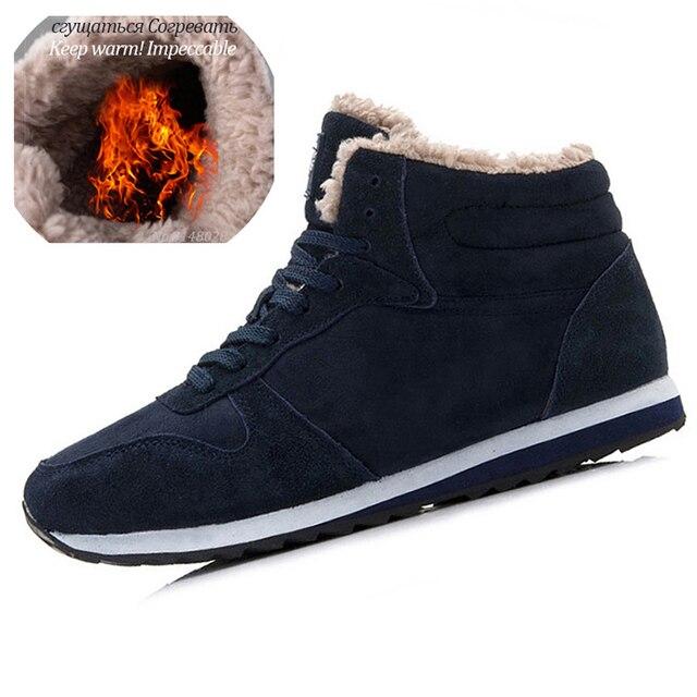 Men Boots Men Winter Shoes Plus Size 35-48 Warm Ankle Botas Hombre For Leather Winter Boots Shoes Men Plush Winter Sneakers Mens 2