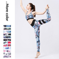 New Jumpsuit Printed Yoga Tops+Pants Fitness Women Suits Sport Clothing Women Sportwear Fitness Yoga Set Tights Sport Fitness