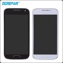 Белого и синего цвета ЖК-дисплей сенсорный экран планшета в сборе с рамкой Рамка для Samsung Galaxy S4 Mini i9190 i9195 Бесплатная доставка