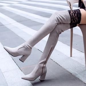 Image 5 - MORAZORA 2019 最新腿高ブーツ女性フロック秋冬ブーツファッションハイヒール靴女性膝上ブーツ