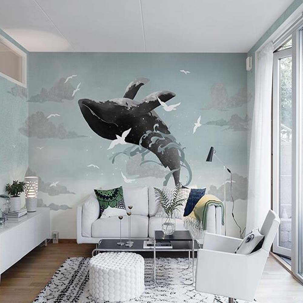 Painting Sky Whale Mural Wall Paper 3d Photo Murals Animal ...