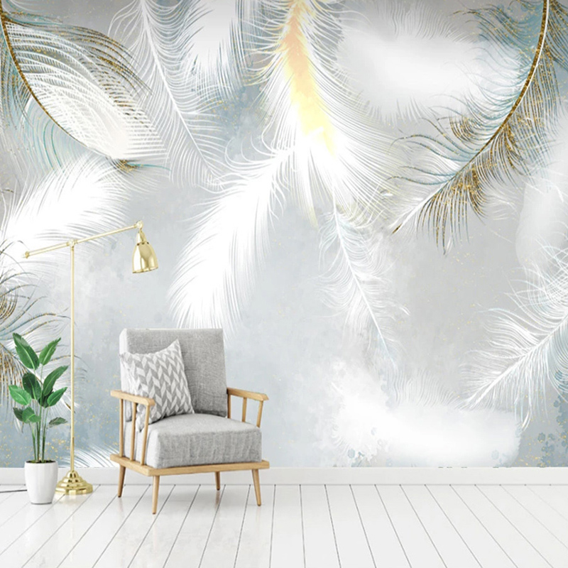 Modern Simple Hand Painted Watercolor Feather Mural Wallpaper Living Room TV Sofa Bedroom Home Decor Waterproof Canvas Stickers