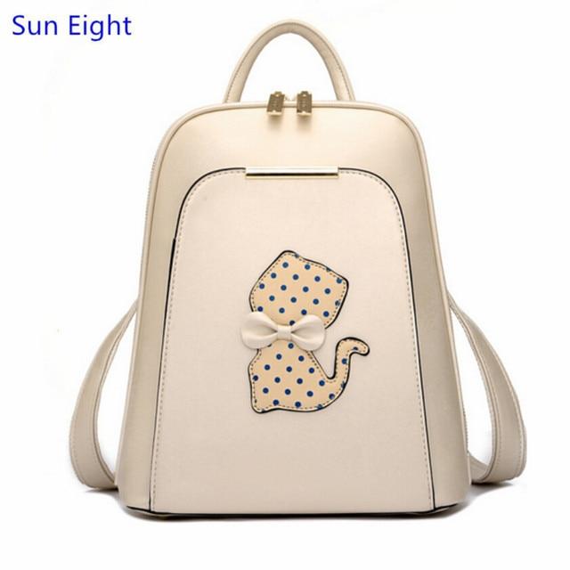 Sun Eight Бежевая кожа рюкзак для девочек школьные сумки дети сумки девушки школьный симпатичная сумка бантом bagpack женщины cat рюкзак