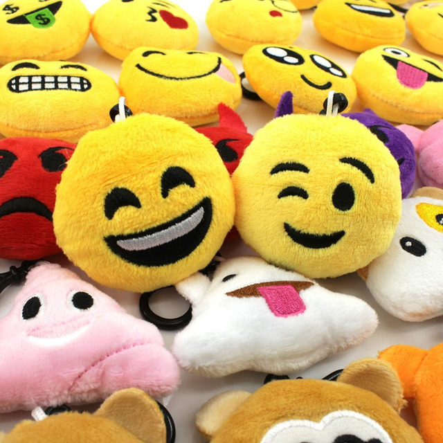 For Emoji Keyrings 44 Pieces/Pack, Lovely Mini Plush KeyChains 2 inch for Kids Gift 3