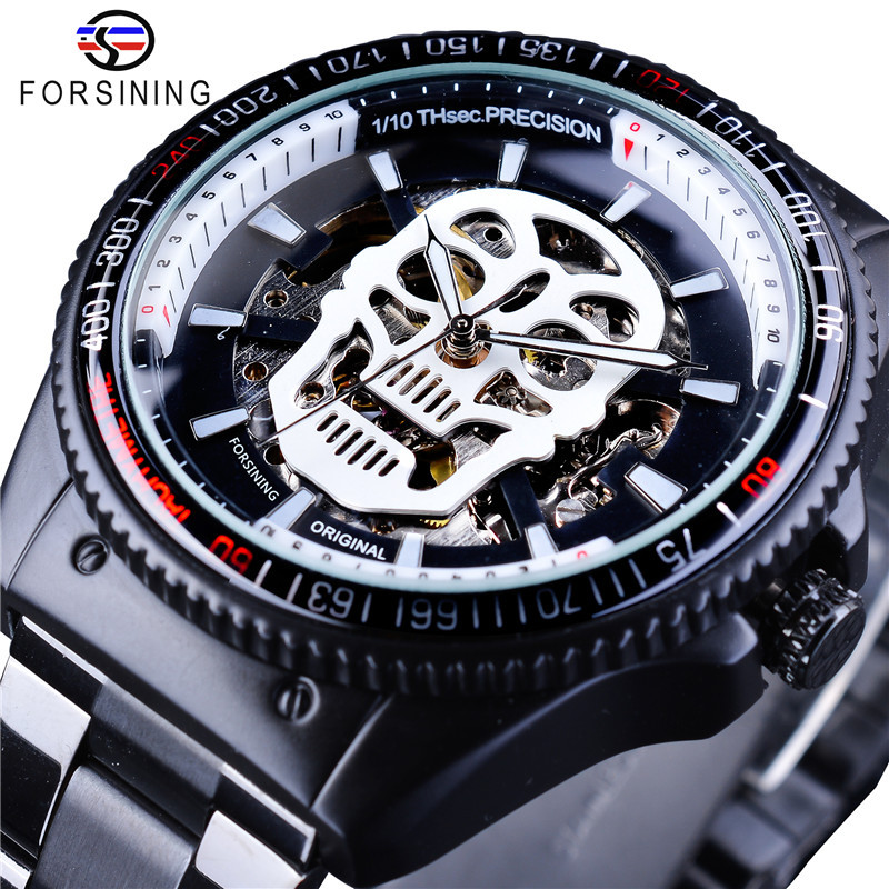 цена на 2018 Fashion Winner Brand Man Steampunk Skull Auto Mechanical Clock Black Stainless Steel Skeleton Dial Cool Design Wrist Watch