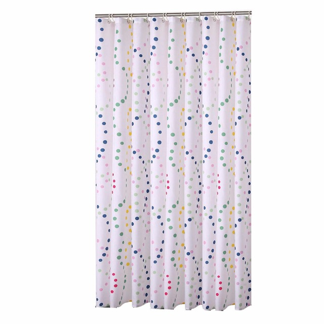 Korean Colorful Dot Designer MildewFree Water Repellent Fabric Shower Curtain Liner Bathroom Polyester Waterproof Window
