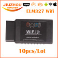 10pcs DHL Free 2016 Newly Desigh ELM327 WIFI Auto Diagnostic Tool OBD2 WIFI ELM 327 Scanner Wireless Elm327 Supports IOS System