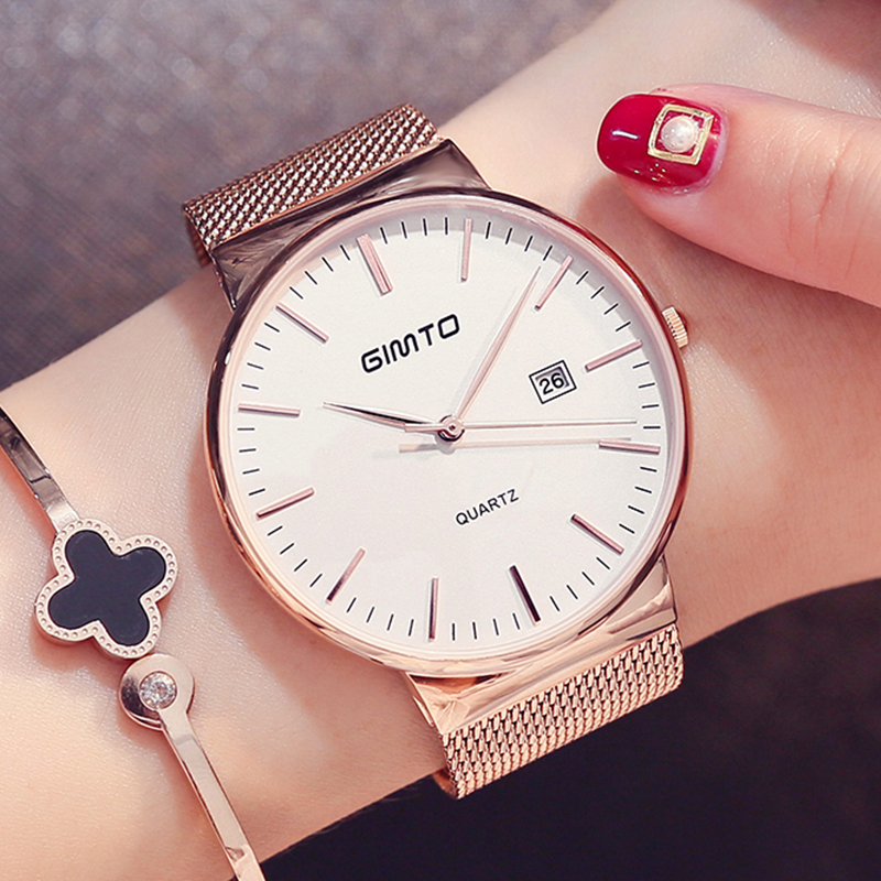 New Brand GIMTO Women Watch Relogio Feminino Clock Stainless Steel Watches Ladies Fashion Casual Men Watch Quartz Wristwatch wristwatch new famous brand binger geneva casual quartz watch men stainless steel dress watches relogio feminino man clock hot