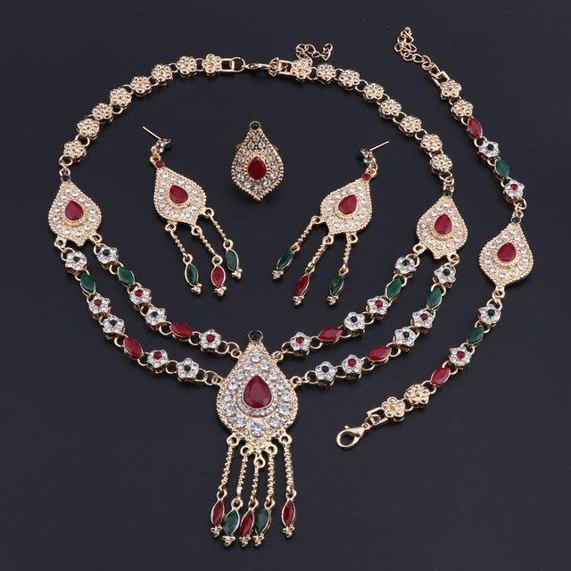 Фото комплект из колье серёг и кольца с австрийскими кристаллами